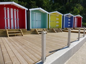 What a charming group of colourful beach huts next to The Hut restaurant, Colwell Bay, Isle of Wight